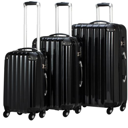 Set Valigie rigide M/L/XL 3 pezzi neri ABS 36l 59l 89l