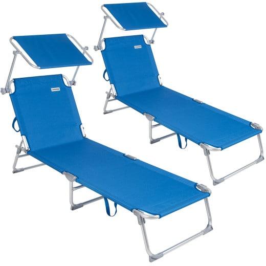 Set 2 x Lettino prendisole Ibiza pieghevole con tetto telaio alluminio blu 190x59x29cm