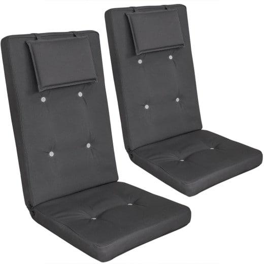 Set 2 x Cuscini per sedie Vanamo con schienale crema-antracite 118x45x7cm