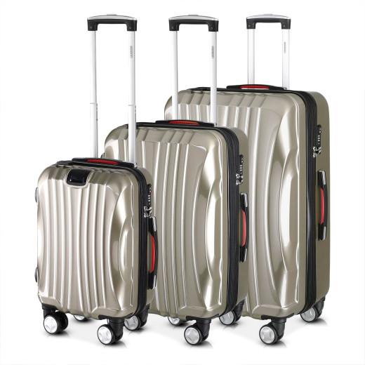 Set Valigie rigide Ikarus M/L/XL 3 pezzi crema ABS 38l 90l 105l