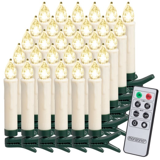Set 30x Candele a LED per Albero di Natale