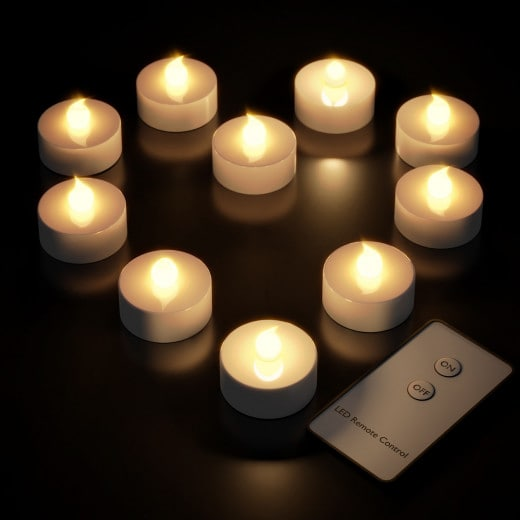 Set 10 x Lumini LED con telecomando bianchi