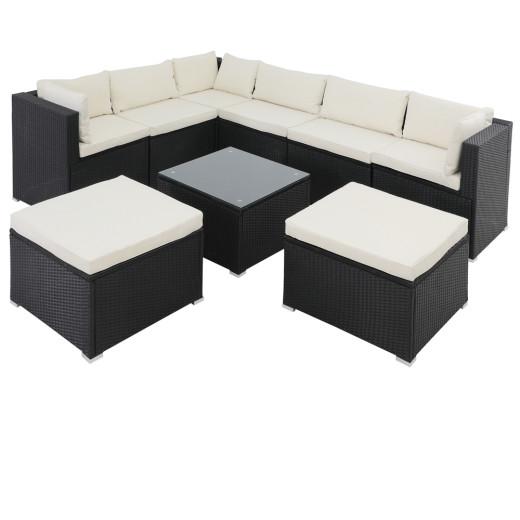 Polyrattan Lounge mit 26 Teilen in schwarz mit weißen Kissen