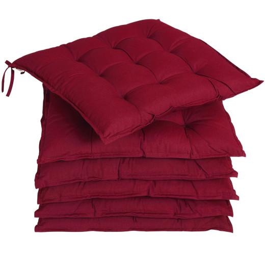 Set 6 x Cuscini per Sedia Cozy rosso scuro 45x45x5cm