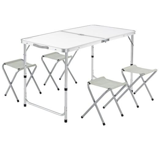 Set Tavolo da campeggio con sedute alluminio bianco