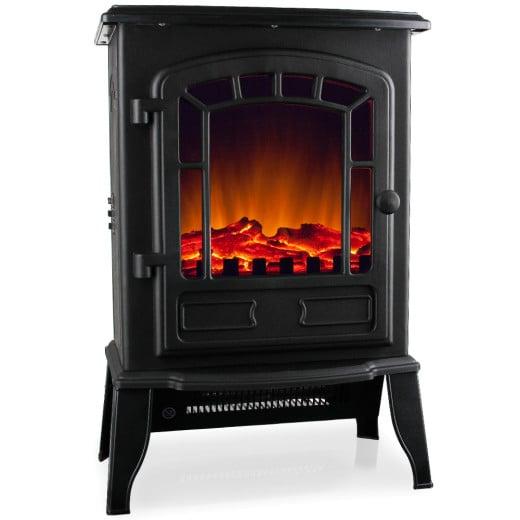 Elektro-Kamin mit Heizung und Kaminfeuer-Effekt 2000W in schwarz