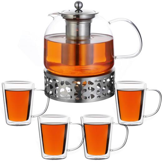 Teekanne Glas 1,5L mit Stövchen, 4er-Set Teegläser