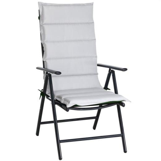 Set 6 x Cuscini reversibile per Sedie da giardino con schienale verde-grigio 120x45x5cm