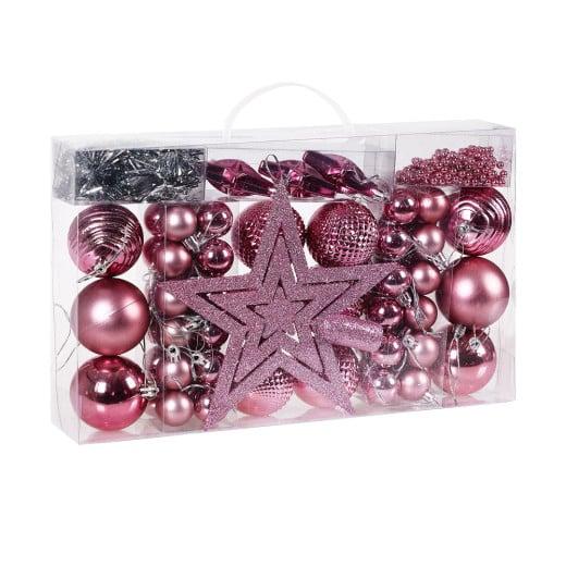 Set Palline di Natale 66 pezzi rosa