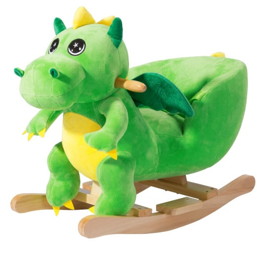 Schaukeltier Dino Grün mit Sicherheitsgurt