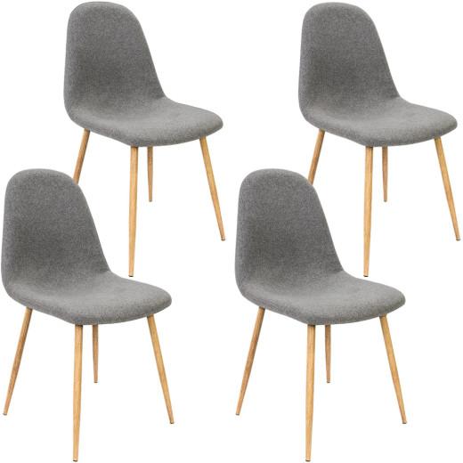 4er-Set Design Stuhl in Dunkelgrau Stoffbezug