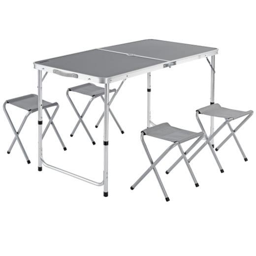Set Tavolo da campeggio con sedute alluminio grigio
