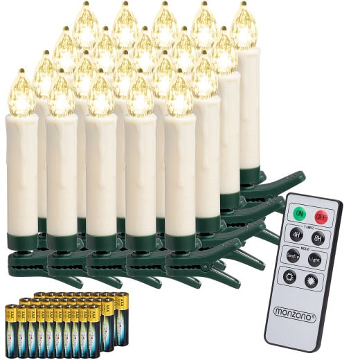 Set 20x Candele a LED per albero di Natale