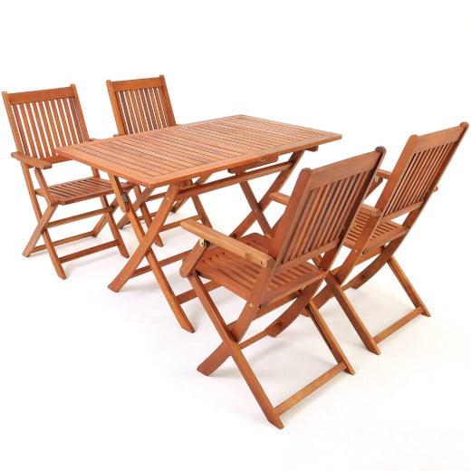 Set Sedie con Tavolo 5pz in legno acacia Certificato FSC®