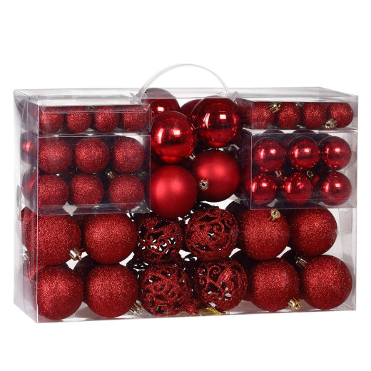 Set Palline di Natale 100 pezzi rossi