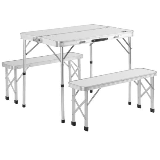 Tavolo da campeggio con 2 panche alluminio bianco