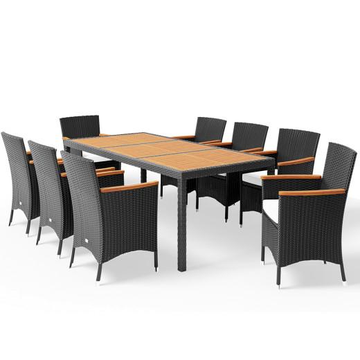 Set sedute polyrattan 17 pezzi - Legno di acacia nero