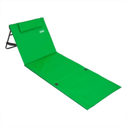 Stuoia da spiaggia con cuscino e schienale reclinabile verde 185x56cm