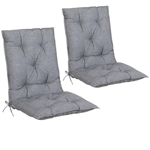 Set 2 x Cuscino con schienale per Sedie da giardino grigio viscoelastico 116x57x7cm