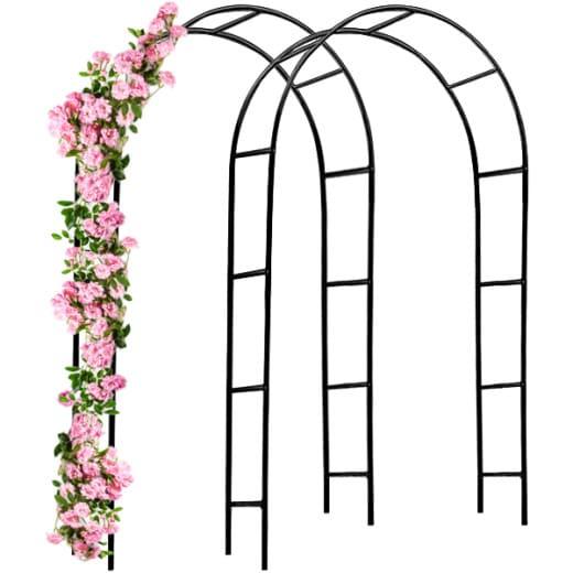 Set 2 x Archi per rose metallo nero 240x140x37cm