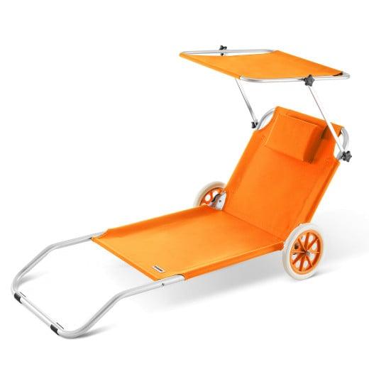 Lettino prendisole Kreta pieghevole con tetto e rotelle alluminio arancione 150x52cm